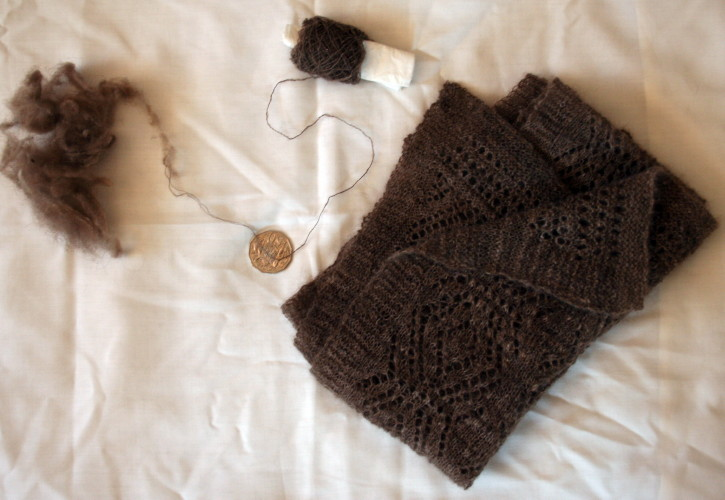 Joan Dicker's hand-spun super-fine undercoat of musk ox from Alaska and Canada 'Qiviut' scarf