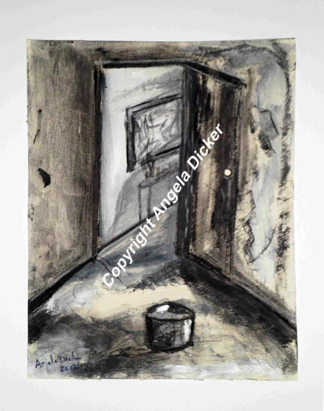 Angela Dicker - Original Artwork - Rooms with Memories 1 - Emptiness - Charcoal and acrylic on prepared paper 250mm x