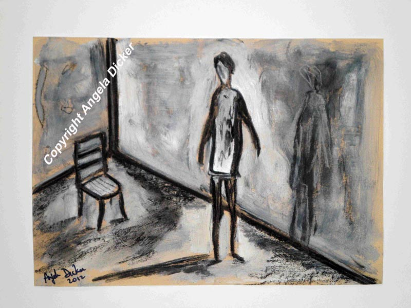 Angela Dicker - Original Artwork - Rooms with Memories 3 – Contemplation  Charcoal and acrylic on textured  paper.