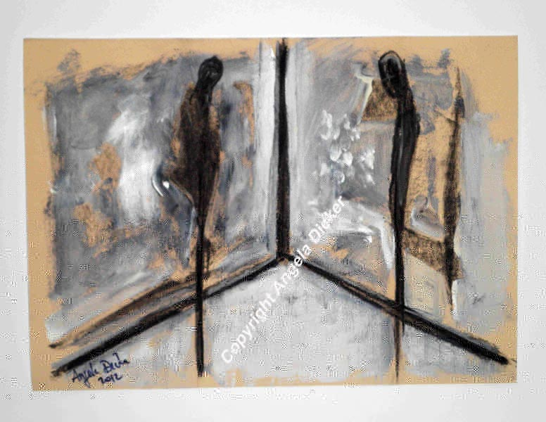 Angela Dicker - Original Artwork - Rooms with Memories 4 – Decisions  Charcoal and acrylic on textured  paper. 315mm x
